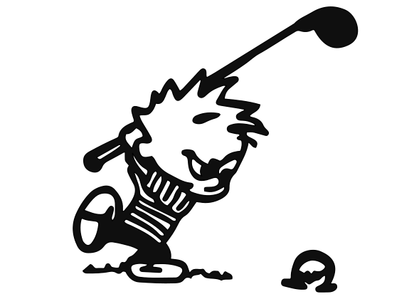 Calvin Golfing Decal
