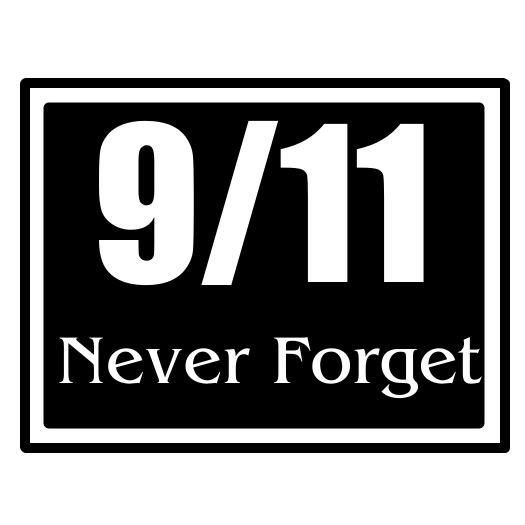 911 Never Forget Black Square Sticker