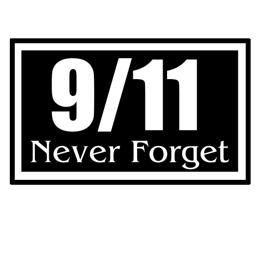 911 Never Forget Black Rectangle Horizontal Sticker