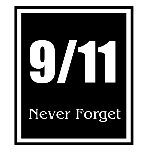 911 Never Forget Black Rectangle Vertical Sticker