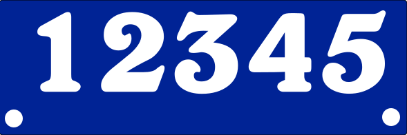 Reflective BLUE Address Sign BOTTOM MOUNT 6x18 inches